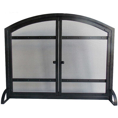 Pleasant Hearth Harper Arched Fireplace Screen with Doors Heavy Duty Screen