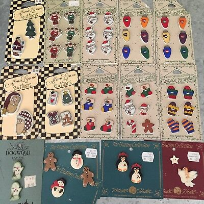 Lot Of Ceramic Holiday Christmas Handcrafted 60 Buttons