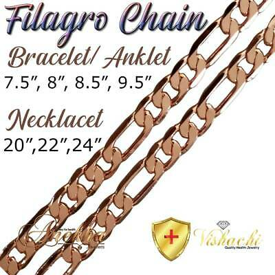 Pure Solid Copper Filagro Chain Curb Link Cuban Bracelet/anklet Arthritis Pc06B