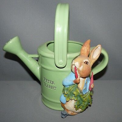 Beatrice Potter Peter Rabbit Vase Flower Pot Sprinkling Can 2007 Hand Painted