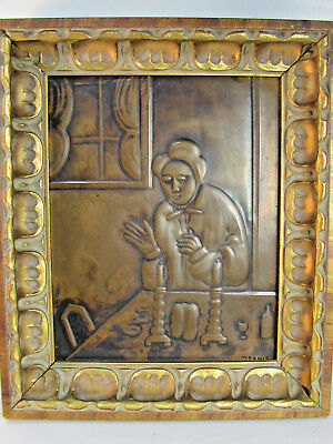 Vintage Copper Beautiful Relief Panel Art, Woman at Table SIgned & Framed