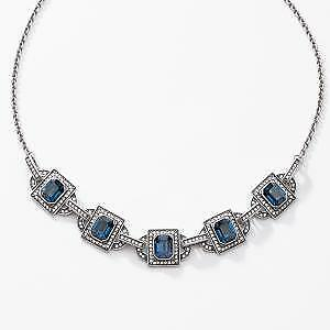 Touchstone Crystal by Swarovski Montana Blue Monarch Necklace