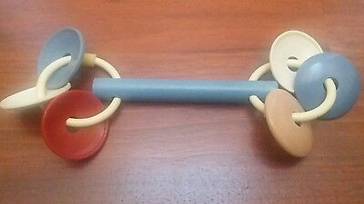 Vintage Antique BABY Wooden and Plastic Rattle 1950's