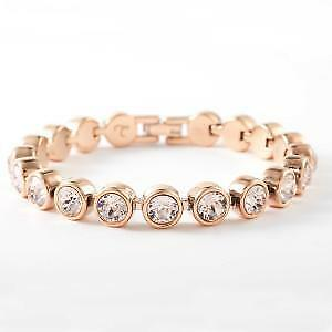 Touchstone Crystal by Swarovski Rose Gold Silk Ice Bracelet BNIB