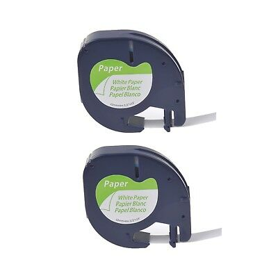 2PK Paper Label Tape for DYMO Letra Tag LT100T QX50 LT91330 Black on White 1/2""