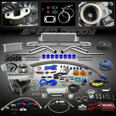 T04E 21Pc T3/T4 Turbo Kit Turbocharger W/Wastegate+Intercooler+Oil Cooler+Gauges
