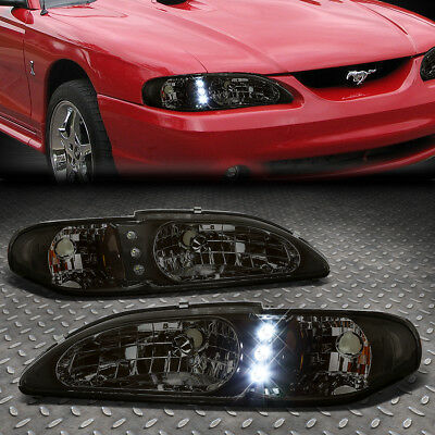 [Led Drl] For 1994-1998 Ford Mustang Smoked Housing Amber Corner Headlight/lamp
