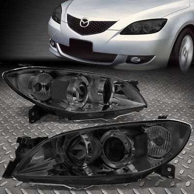 For 2004-2009 Mazda 3 Smoked Housing Clear Side Euro Projector Headlight/lamp