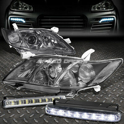 Smoked Housing Clear Side Headlight+Led Drl Front Lamp Bar For 07-09 Camry Xv40