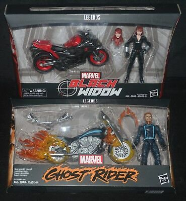 BLACK WIDOW & GHOST RIDER w Motorcycles Marvel Legends Sets Avengers 2017 MIP