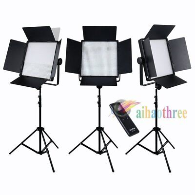 3Pcs GODOX LED1000W White Version LED Video Light Studio + Remote + Light Stand