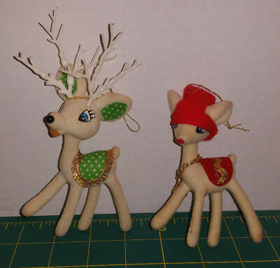 Vtg Xmas Ornaments Pair Off-White Flocked Plastic Reindeer, Boy & Girl, Xcellent