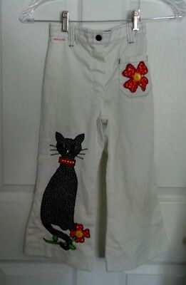 Little Girls Sz 5 Vintage 70's Bell Bottom White Pants w Flower & Cat Appliques