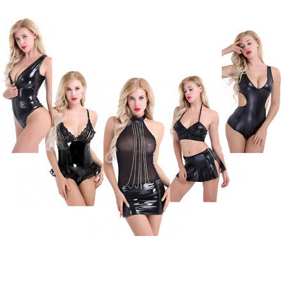 Sexy Women Faux Leather Bodycon Short Mini Dress Clubwear Party Teddy Bodysuit