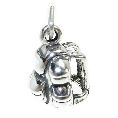 Backpack Rucksack sterling silver charm .925 x 1 Camping and Hiking SSLP2276!