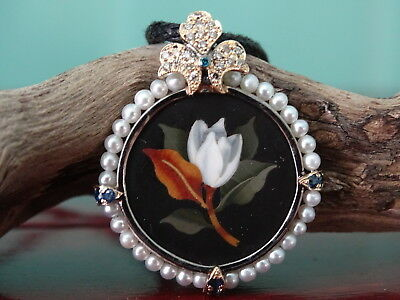 Antique Victorian Pietra Dura micro mosaic gold,silver pendant , diamonds