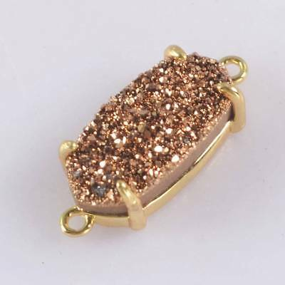 14x7mm Natural Agate Titanium Druzy Claw Prong Connector Gold Plated H123510