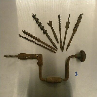 Vintage Brace Drill And Auger Drill Bits #1