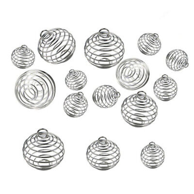 30PCS/Set Spiral Bead Cages Pendants Silver Plated Craft Jewelry Making NT