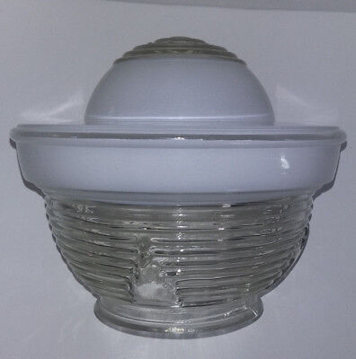 Vintage Art Deco Ceiling Light Globe White Frosted With Clear Glass On Bottom