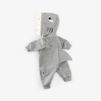 Unisex Baby Winter Shark Romper Jumpsuit Boy Girl Hooded Sweater Clothes Outfits