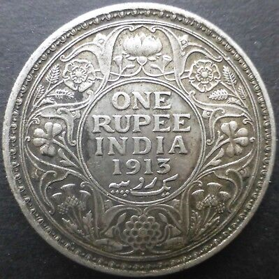 British India 1913 One Rupee Silver coin