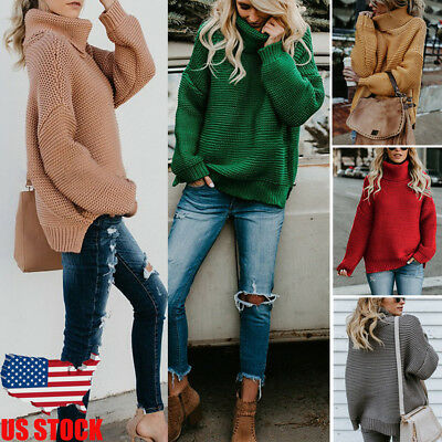 Womens Casual Winter Sweater Sweatershirt Ladies Pullover Thermal Blouse Tops US