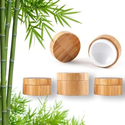 Natural bamboo Sample Cosmetic Makeup Jars Pot Container For Face Cream Lip Balm