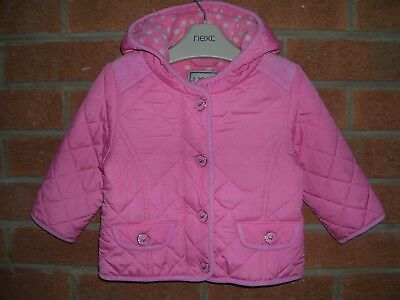 NEXT Girls Pink Fleece Lined Quilted Jacket Hooded Coat Age 9-12m