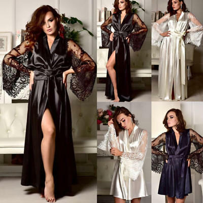 Womens Satin Lace Robe Kimono Dressing Gown Wedding Party Bridesmaid Sleepwear