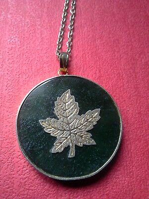 Vintage Maple Leaf necklace pendant, goldtone & green glass / lucite from Canada