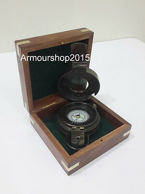 Nautical Brass Military Compass With Wooden Brown Box Vintage Collectible Decor