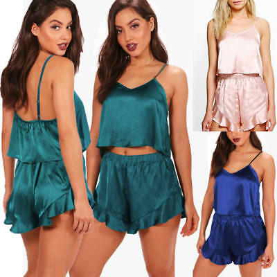 Women Satin Lace Sleepwear Babydoll Lingerie Nightwear Shorts Pyjamas Pjs Set