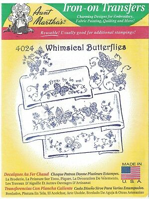 4024 Vintage Aunt Martha Embroidery Hot Iron Transfer Whimsical Butterflies
