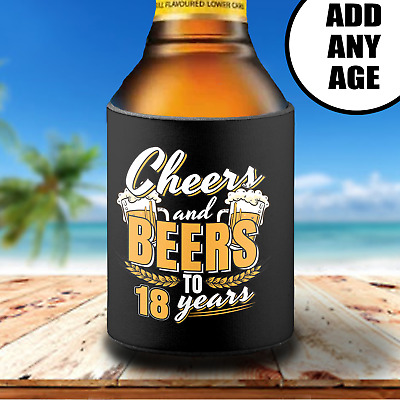 Personalised 18th Birthday Stubby Can Cooler Holder Gift Cheers & Beers Any Age