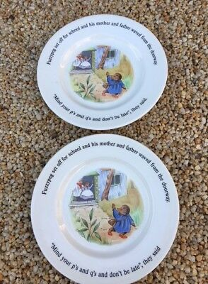2 Adams Little Grey Rabbit and her Friends Side Plates 1985
