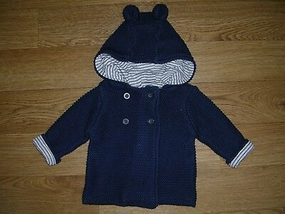 MARKS & SPENCER Navy Blue Cotton Knitted Jacket Hooded Cardigan Age 0-3m
