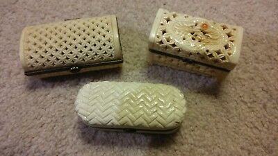 3 Vintage Small Ornately Carved Trinket Boxes with Clasps & Hinges-Dragon, Leaf