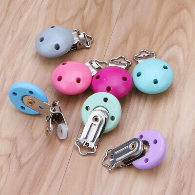 5 pcs Metal Wooden Baby Pacifier Clips Solid Color Holders Infant Soother Clasps
