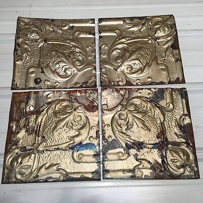 "4pc Lot of 12"" by 12"" Antique Ceiling Tin Vintage Reclaimed Salvage Art"
