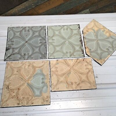 "5pc Lot of 12"" and under Antique Ceiling Tin Vintage Reclaimed Salvage Art Craft"