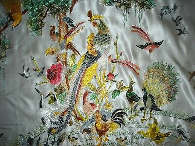Vintage Hand Embroidered Unframed Large Silk Picture Oriental Birds At Sunrise