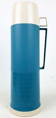 Vintage Thermos King Seeley w/2 Cups Retro Blue Filler 24F Stopper 722 Cup 84A73