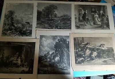 Antique Lot of Prints Etchings & Engravings From Assorted Books