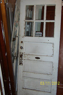 VINTAGE EXTERIOR DOOR COMES WITH A BELL approx 32 x 79