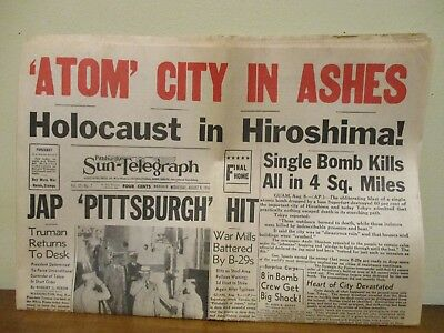 WWII Hiroshima Atomic Bomb Newspaper - Pittsburgh Sun-Telegraph Aug 8 1945
