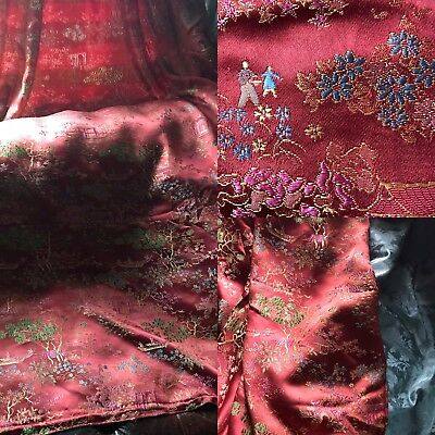 """Beautiful Antique French Chinoiserie Toile Woven Damask panel 68""""x 80"""""""