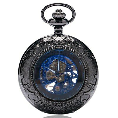 Retro Flower Pattern Case With Roman Number Mechanical Pocket Watch Chain Gifts