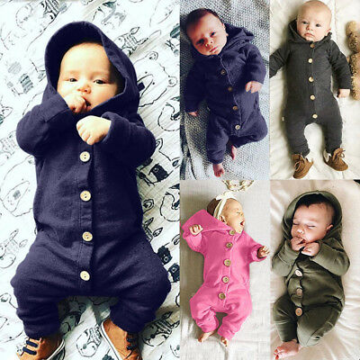 UK Newborn Baby Boys Girls Long Sleeve Romper Bodysuit Jumpsuit Clothes Outfits