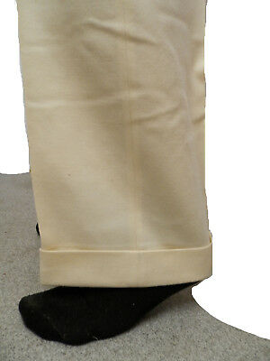 High Waist 1950s Cream Colour Trousers with cuffs or Turn Ups (W40 L32)